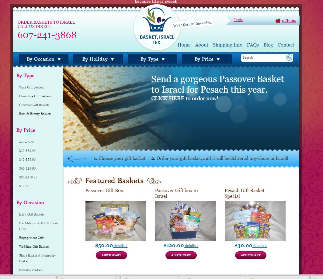 Website Programming for Gift Basket Store